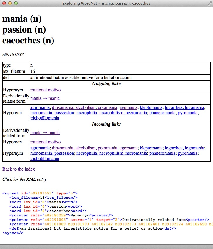 Wordnet browsing figure 1 display of synset 091917557 corresponding to the words mania passion cacoethes publicscrutiny Gallery
